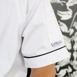 Veste de Boulanger Blanche Liseré Noir ou Gris Boutons Poche à Stylo