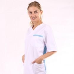 Blouse médicale mixte blanc et bleu ciel manches courtes promotion