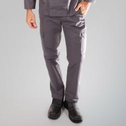 Pantalon de cuisine gris poches latérales