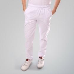 Pantalon de cuisine blanc poches latérales