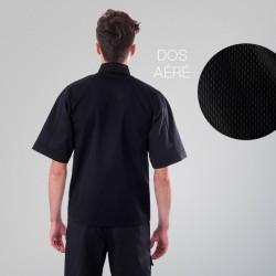 Veste de cuisine Noire dos aéré grande taille - MANELLI manches courtes dos respirant