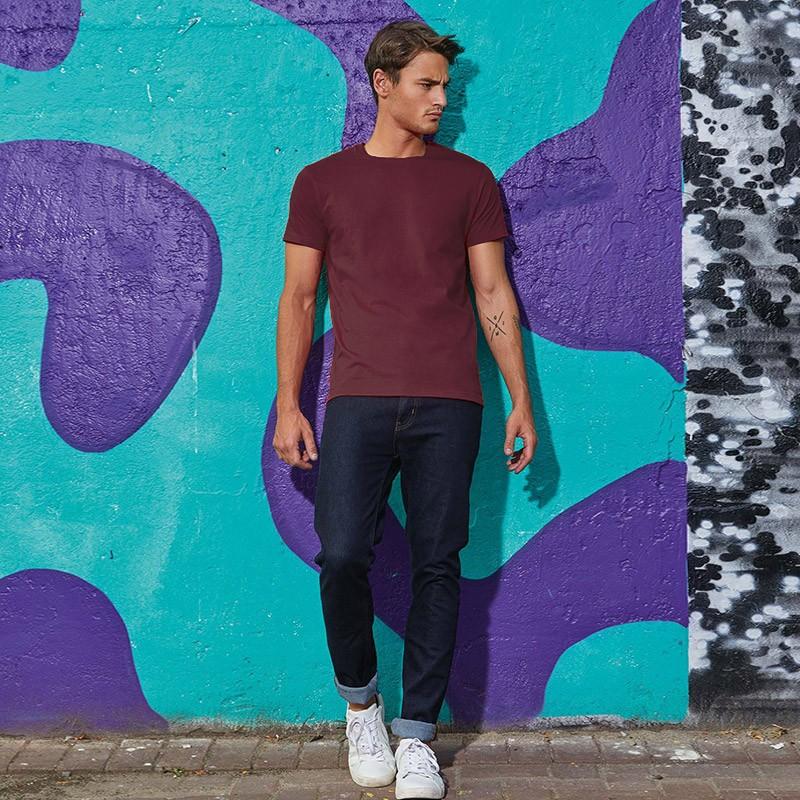 Tee-shirt de Travail Coton Homme Bordeaux - TOPTEX Manches courtes