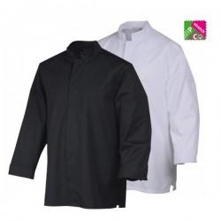 Veste de cuisine Stani, veste de cuisinier aspect chemise noire ou blanche, manche longue