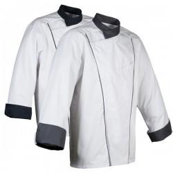 Veste de cuisine Robur Soya, blanche liseré gris, veste pour cuisinier originale