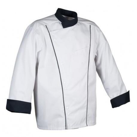 Veste de cuisine Robur Soya noire, bouton pression en polycoton