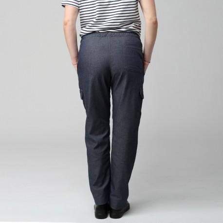 Pantalon Jean Cuisine Femme - MANELLI Taille élastiquée, 1 poche plaquée sur le dos
