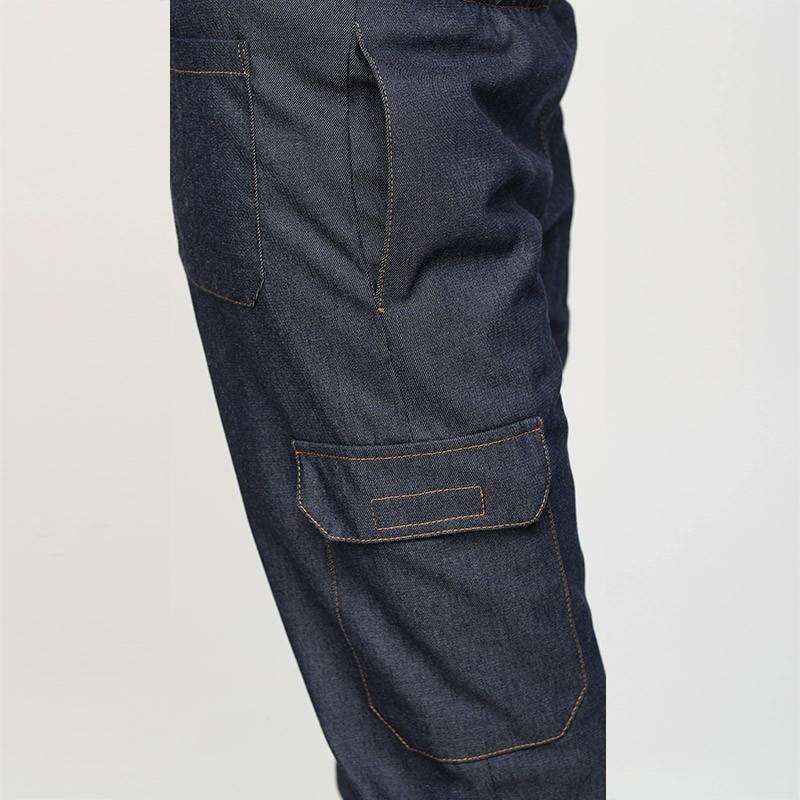 Pantalon Jean Cuisine Femme - MANELLI 2 poches latérales basses plaquées avec fermeture par grippers
