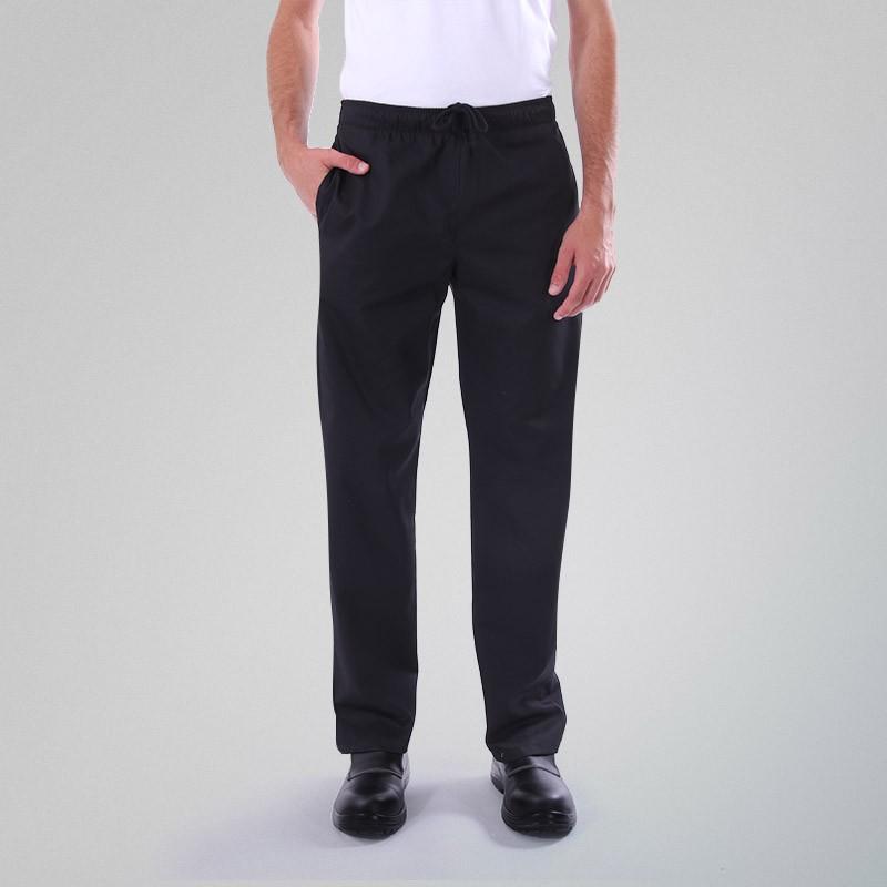 Pantalon de Cuisine Noir Manelli Grande Taille mixte homme et femme