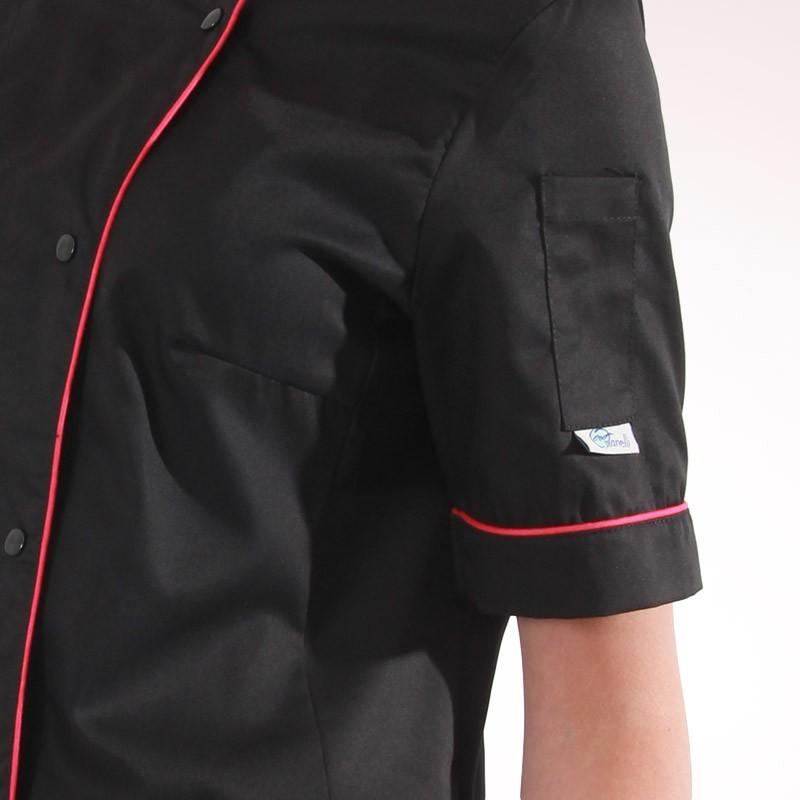 Veste de cuisine femme dos aéré liseré rose - MANELLI - poche à stylo
