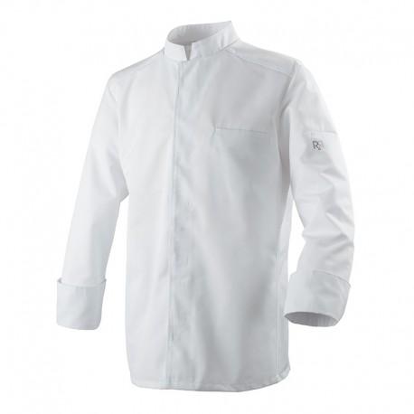 Veste de Cuisine Blanche Abax Respirante Manches Longues - ROBUR - Col officier, poche à stylo