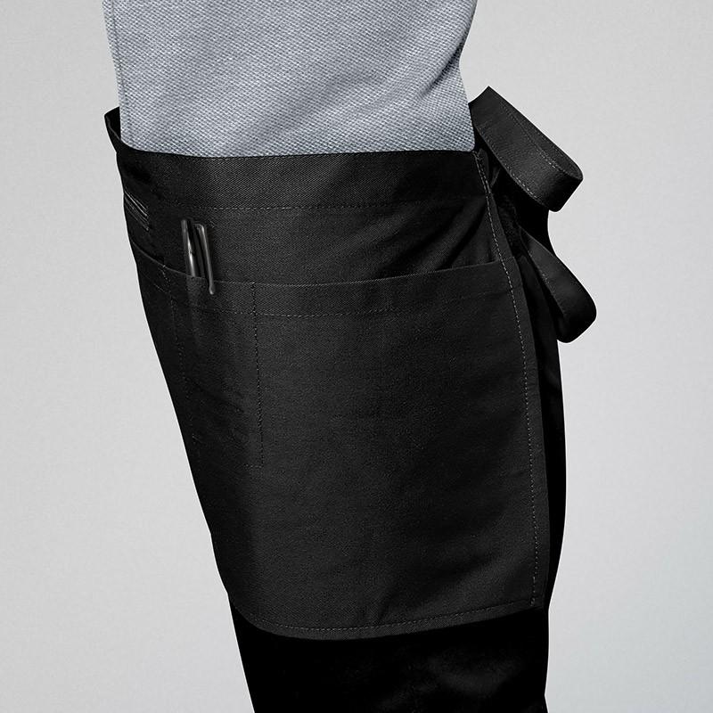 Tabliers Barman À Poche Zippée Noir - MANELLI - 2 poches sur le côté du tablier