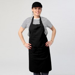 Tablier noir à bavette double poche manelli serveur cuisinier polycoton à Personnaliser