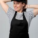 Tablier noir à bavette double poche manelli serveur cuisinier polycoton