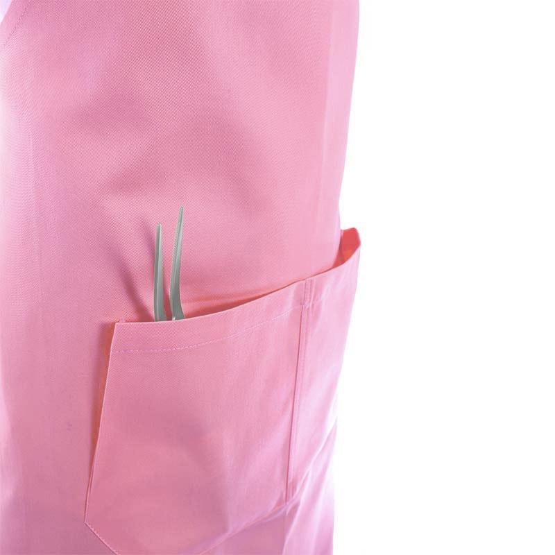 Tablier a bavette couleur rose et poches centrales