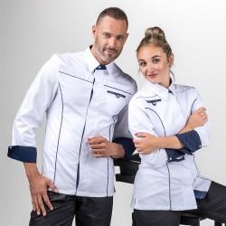 Veste de Cuisine Homme Col Chemise Bleu Marine Blanc - MANELLI