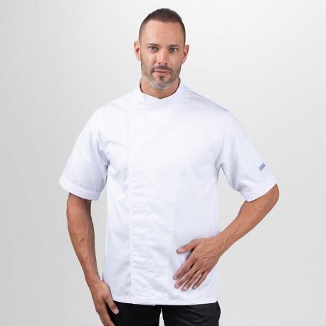 Veste de cuisine blanche dos aéré, manches courtes