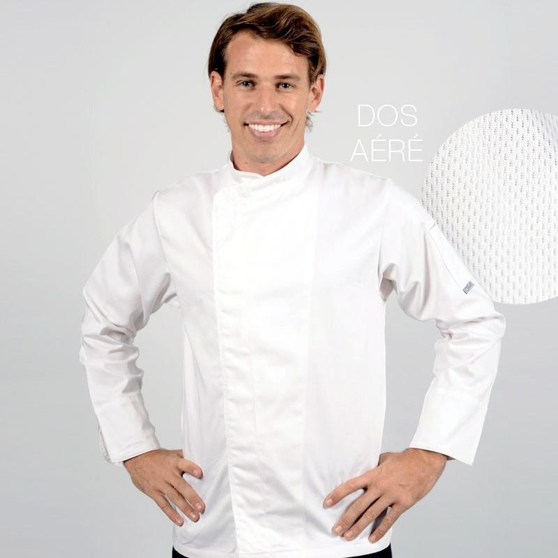 Veste de cuisine blanche dos aéré, manches longues