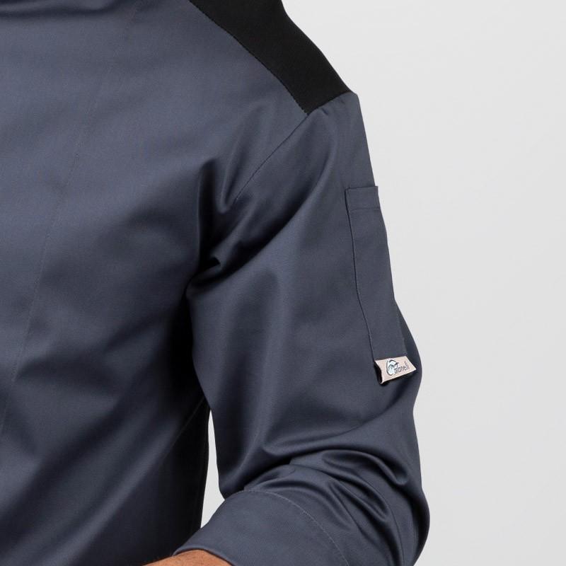 Veste de cuisine grise épaule noire Grande taille - MANELLI