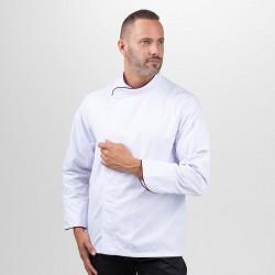 Veste de cuisine grande taille blanche liseré brodeaux- MANELLI