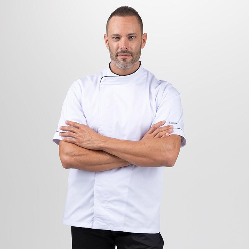 Veste de cuisine grande taille blanche liseré noir - MANELLI