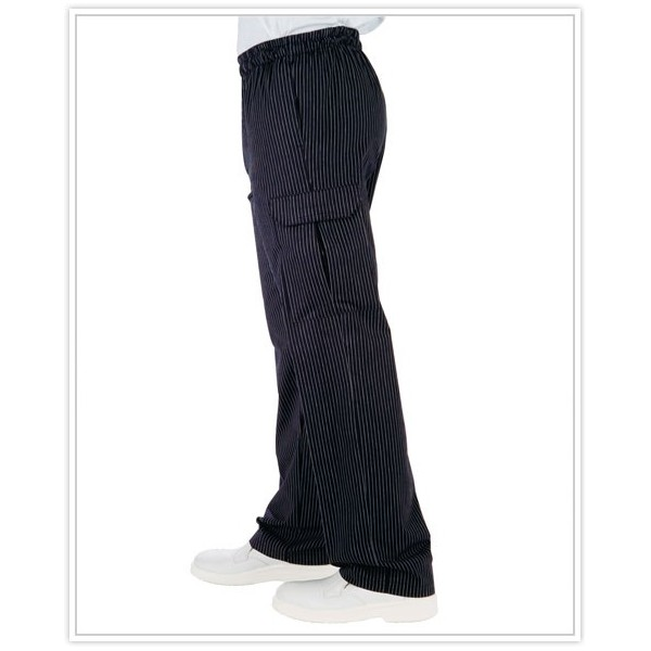 Pantalon de Cuisine Multipoches Fines Rayures