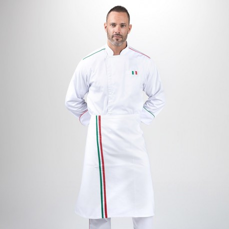 Tablier de Cuisine Demi-Chef Napoli Blanc - MANELLI