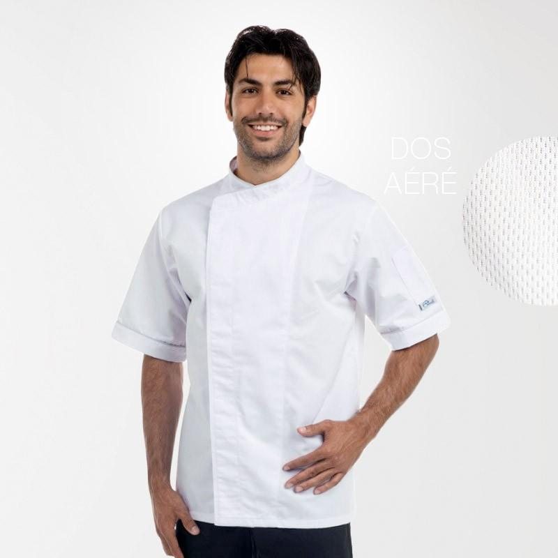 Veste de boulanger Blanche Respirante liseré noir ou gris - MANELLI - Boutons pressions cachés