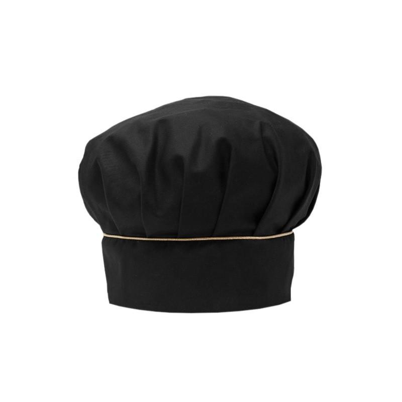 Toque de cuisine noire liseré or Manelli