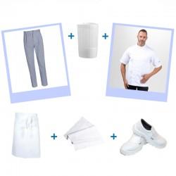 Profitez du pack complet cuisine pour apprentis ou professionnels. Veste de cuisine, pantalon pied de poule et chaussures.