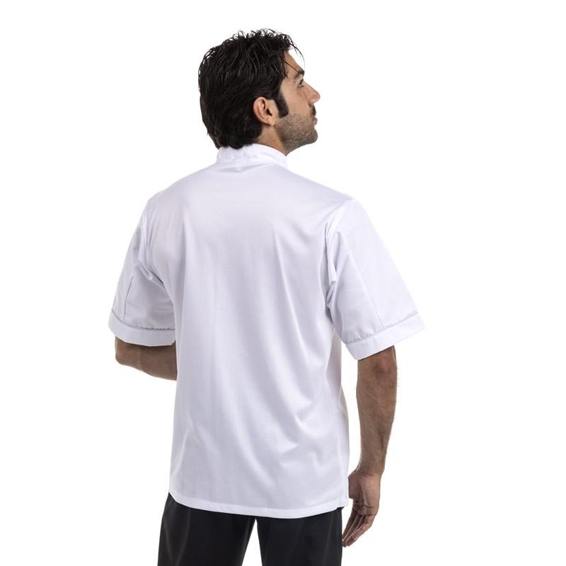 Veste de cuisine respirante grande taille liseré gris ou noir