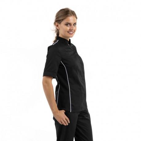 Veste de cuisine noire liseré blanc aération côté manches courtes