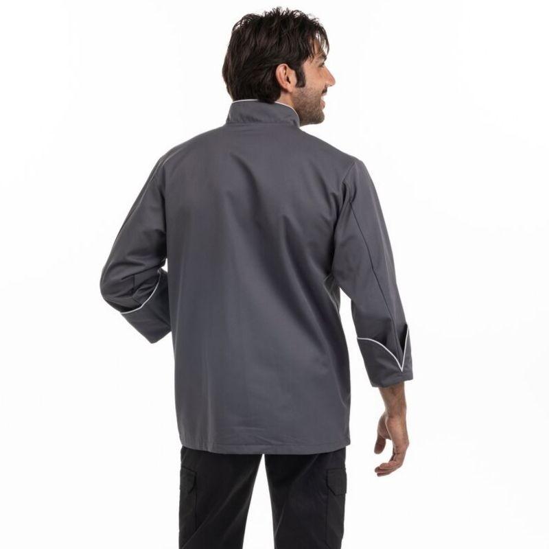Veste de cuisine grise liseré gris clair destockage - MANELLI