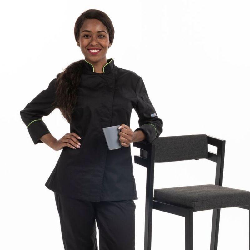 Veste de cuisine femme liseré vert ML - MANELLI