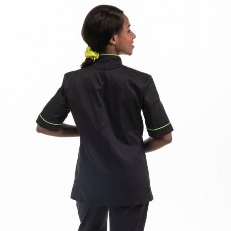 Veste de cuisine femme liseré vert MC - MANELLI