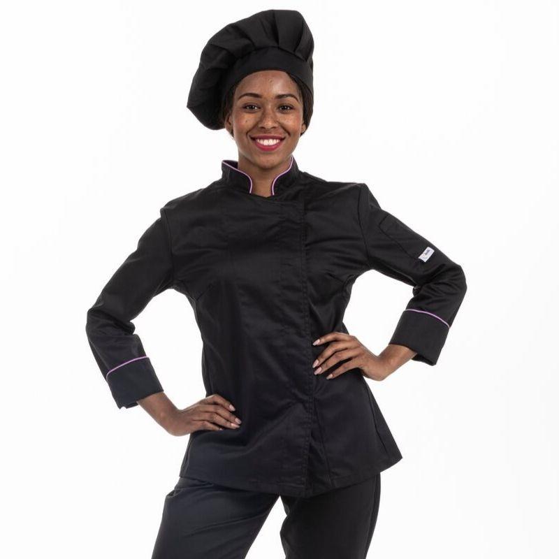 Veste de cuisine femme liseré lilas - MC - MANELLI