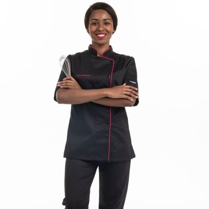 Veste de cuisine femme liseré fushia Elisa - MC - MANELLI