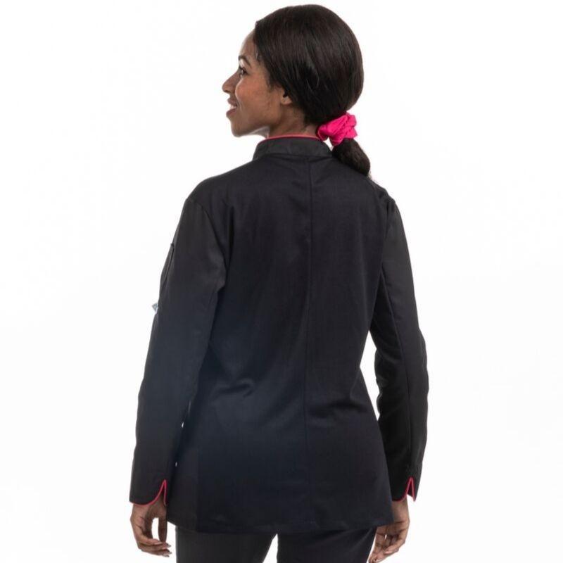 Veste de cuisine femme dos aéré liseré rose - MANELLI
