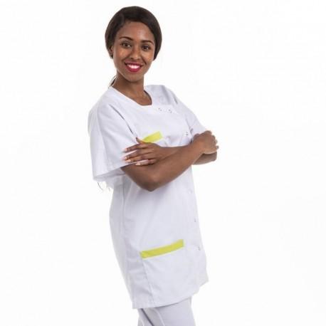 Blouse Medicale Asymétrique poches vert anis - MANELLI