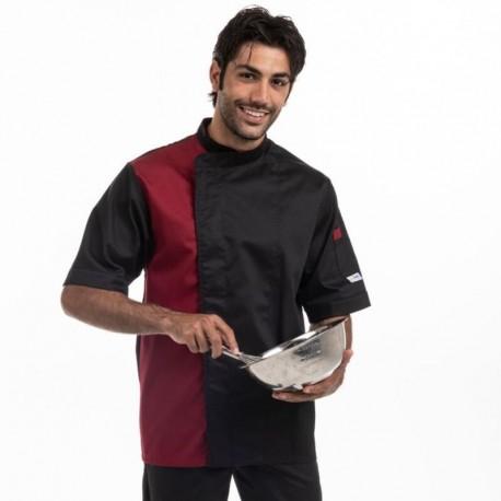 Veste de cuisine noir / bordeaux - MANELLI