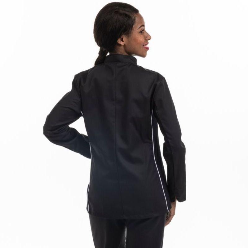 Veste de cuisine femme noire liseré blanc aération côté - MANELLI