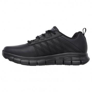 Basket de Travail Noir Femme Sure Track Erath SR SKECHERS détail chaussure lacet restauration antidérapante