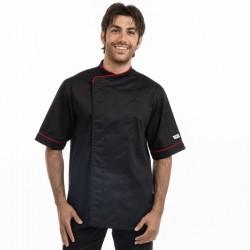 Veste de cuisinier noire liseré rouge - Manelli