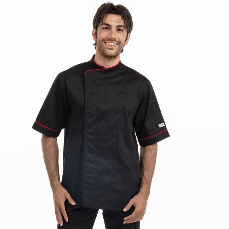 Veste de cuisine noire liseré rouge - MC ou ML - MANELLI