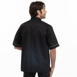 Veste de cuisine noire liseré blanc - MC - MANELLI
