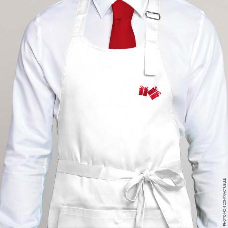 Tablier à bavette blanc motif cadeaux de noël