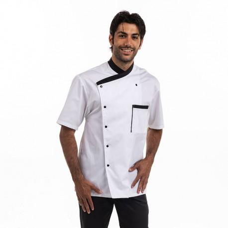 Veste de Cuisine Homme Masterchef Blanc et Noir Manches courtes MANELLI
