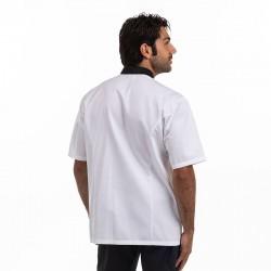 Veste de cuisine blanche manches courtes avec col noir