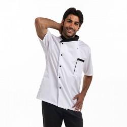 vestes de cuisine manches courtes blanc col noir Manelli