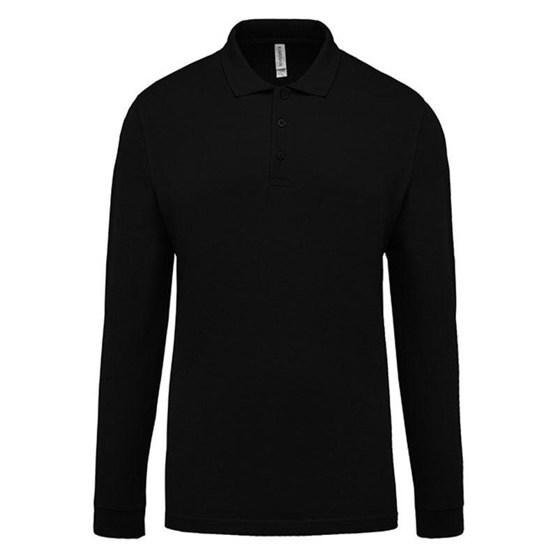 Polo de Travail Coton Manches Longues Homme Noir TOPTEX