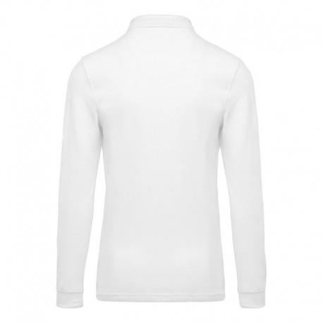 polo de travail manches longues couleur blanc 100% coton